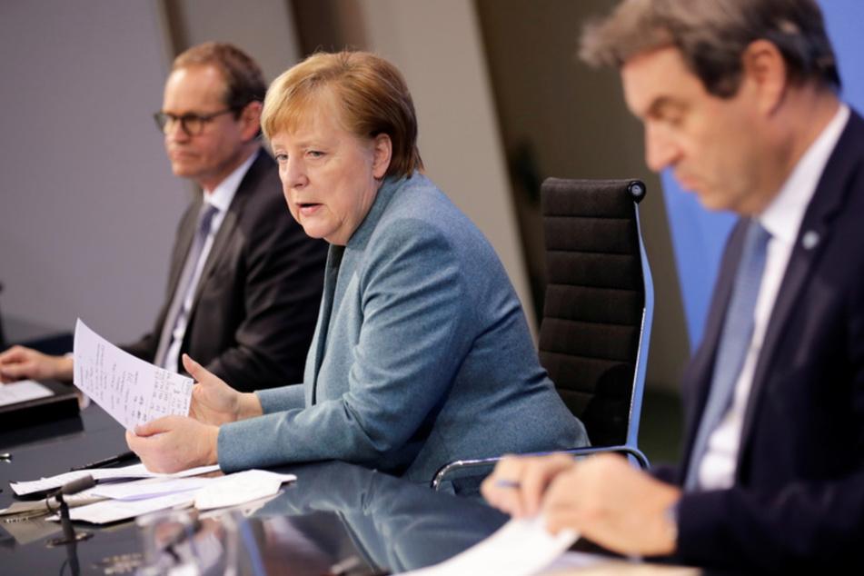 Bundeskanzlerin Angela Merkel (66, CDU, M) spricht auf einer Pressekonferenz. Wegen der stark steigenden Corona-Infektionszahlen setzt ein Beschlussentwurf aus dem Kanzleramt für die Bund-Länder-Runde an diesem Montag auf eine Verlängerung des Lockdowns bis zum 18. April.