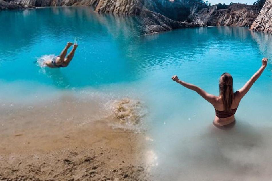 Im Netz findet man überall Bilder von Personen, die für ein Foto im giftigen See plantschten.