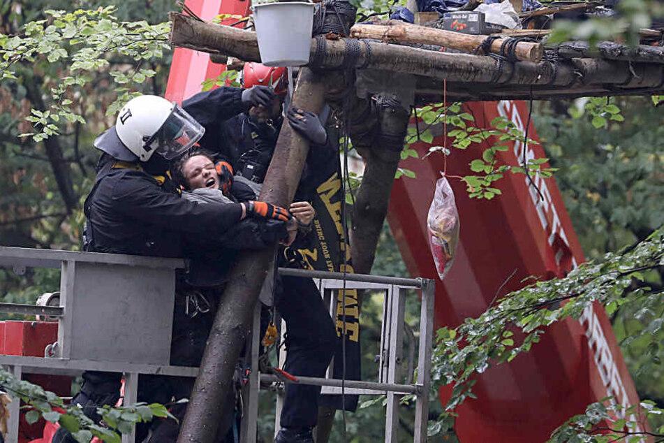 Polizisten und eine Aktivistin bei der Räumung eines Baumhauses.