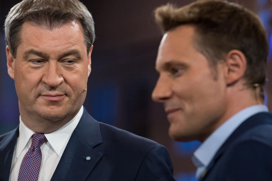 Markus Söder (l.) und Ludwig Hartmann (r.) zeigten sich im TV-Duell kämpferisch.