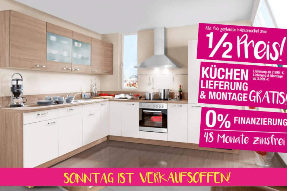 5 Stunden lang habt Ihr Sonntag die Möglichkeit, Küchen zum 1/2 Preis zu bekommen.