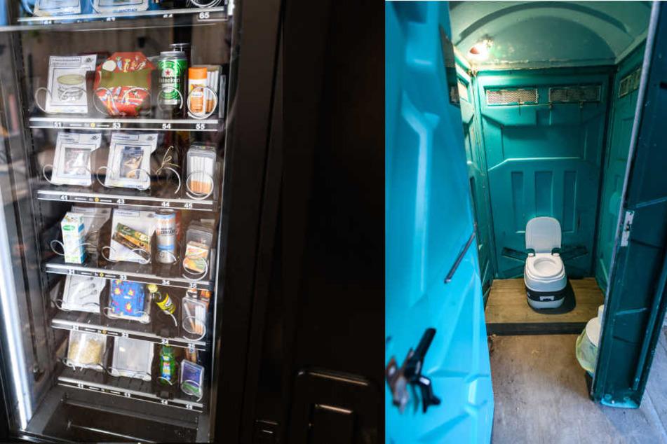 Ein Automat mit Essen und ein einziges Dixi-Klo wartet auf die Bewohner bei Big Brother.