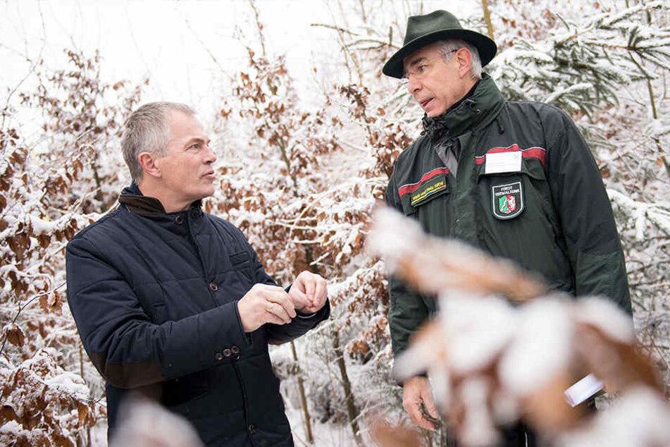 NRW-Umweltminister Johannes Remmel (Grüne) und Förster Franz-Josef Stein.