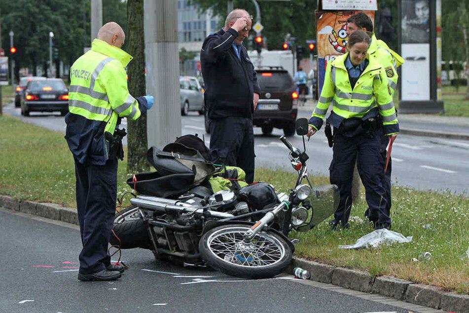 Zwei Harley-Fahrer knallen in Dresden aufeinander