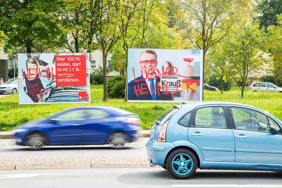 In ganz Sachsen werden derzeit Wahlplakate beschädigt. Mitte August mussten Wahlplakate in Aue dran glauben.