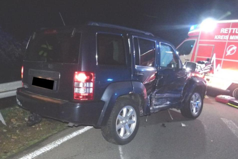 Der Jeep schleuderte nach dem Crash auf die Gegenfahrbahn.