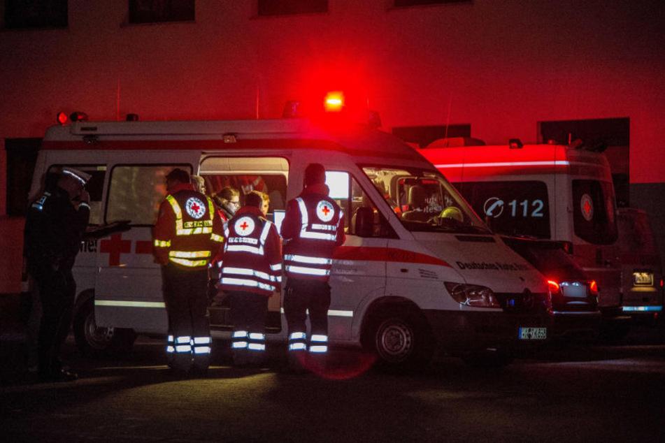 Die Polizei wurde vom Deutschen Roten Kreuz unterstützt.