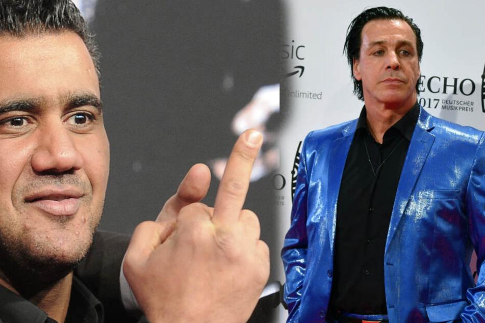 Ob sich Till Lindemann wohl von Abou-Chakers Aussagen provozieren lässt? (Bildcollage)