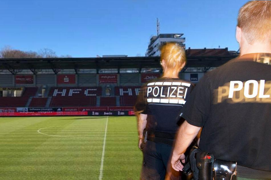 Nach dem Spiel in Halle (Saale) musste die Polizei einschreiten. (Symbolbild, Fotomontage)