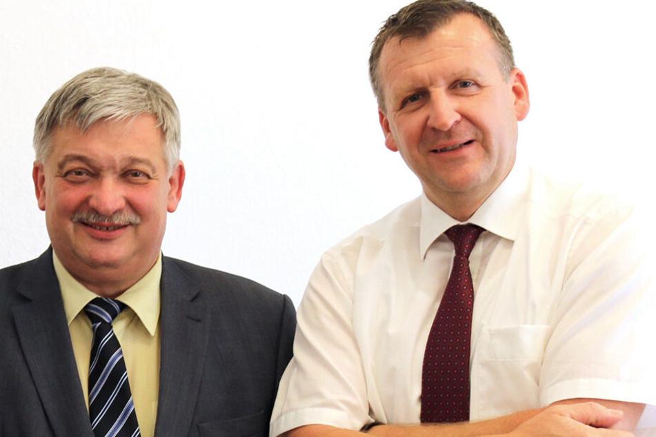 Jens Müller (51, Freie Wähler) und sein Herausforderer Franz Heinrich Kohl (62, CDU) sind zwei der insgesamt vier Kandidaten, die sich um das Amt bewerben.