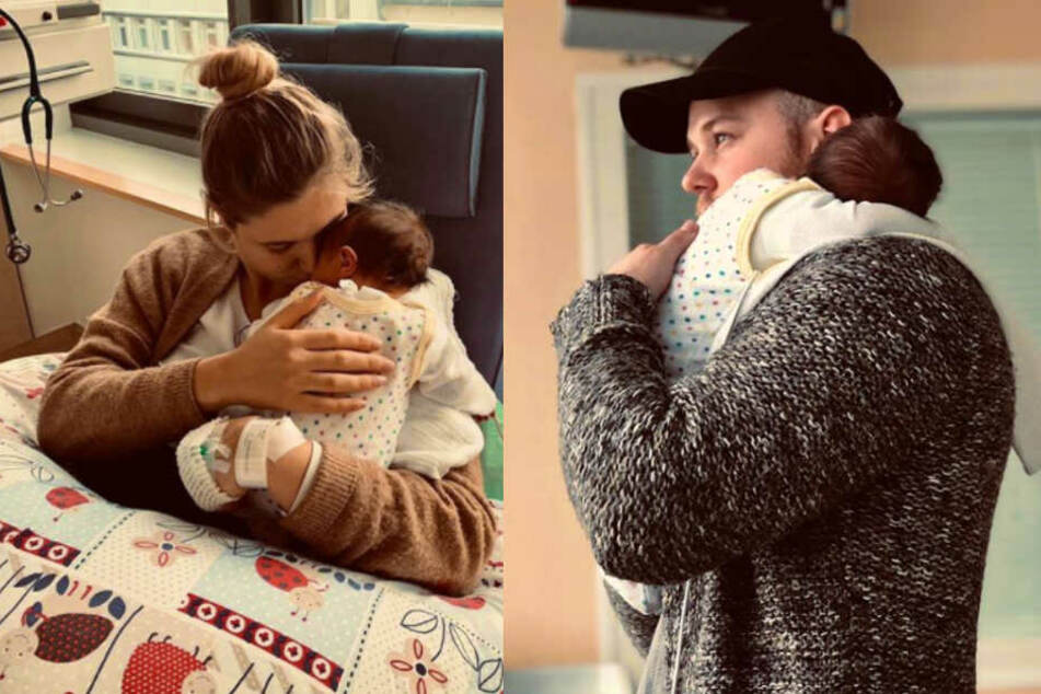Die frisch gebackenen Eltern: Felix van Deventer (23) und seine Freundin Antje posten die ersten Bilder mit Söhnchen Noah.