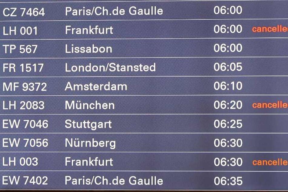Zahlreiche Flüge der Lufthansa fallen am Hamburger Flughafen aus.