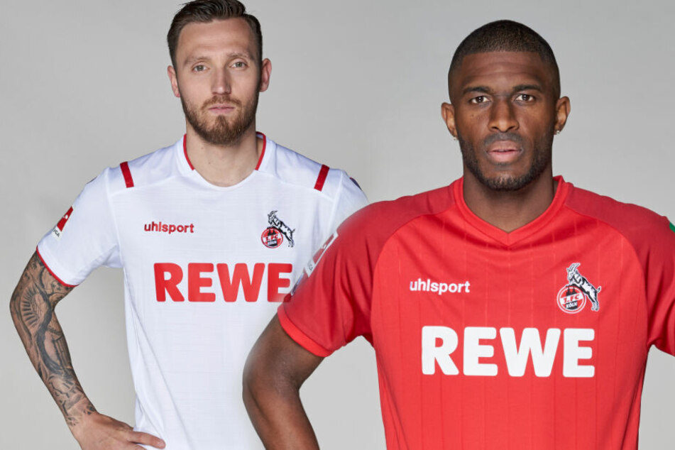 Marco Höger im Heimtrikot und Anthony Modeste im Auswärtstrikot des 1. FC Köln.