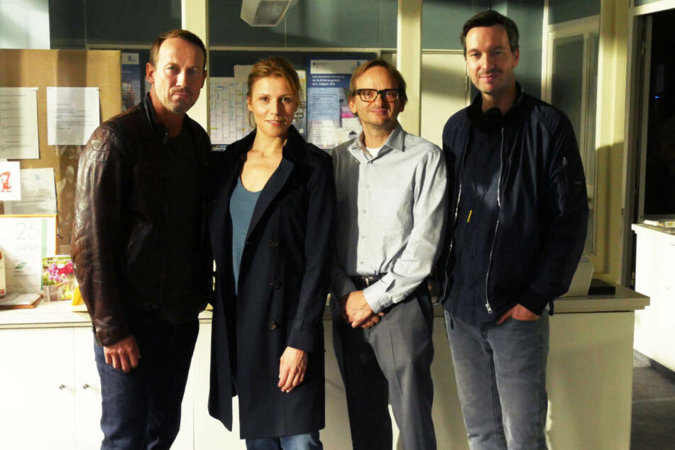 """Der Cast der Tatort-Folge """"Kollateralschaden"""": Wotan Wilke Möhring, Franziska Weisz, Milan Peschel und Stephan Rick (v.l.n.r.)."""