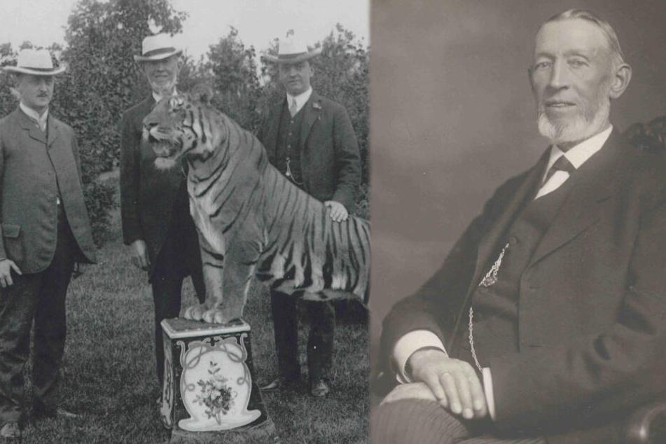 Die Schwarz-Weiß-Aufnahme aus dem Jahr 1907 (links) zeigt den Zoo-Gründer Carl Hagenbeck (Mitte) mit seinen beiden Söhnen und einem Tiger. Die zweite Aufnahme zeigt Carl Hagenbeck allein im Jahr 1907.