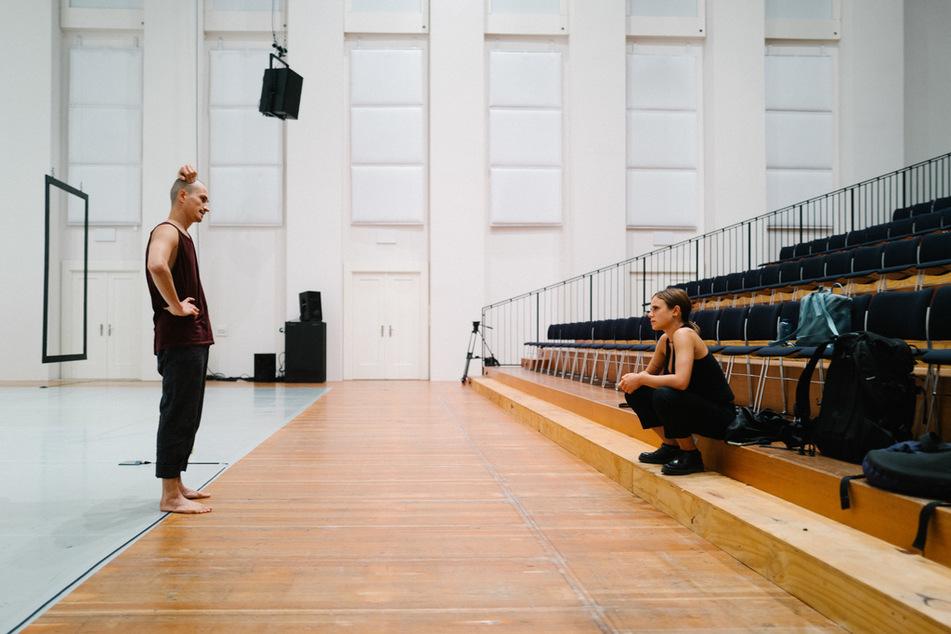 """""""Dance till you break - The Saxonz - Hoffnung"""": Kelox (31) und seine Freundin Chiara bei Proben im Festspielhaus Hellerau für die Palucca Schule Dresden."""