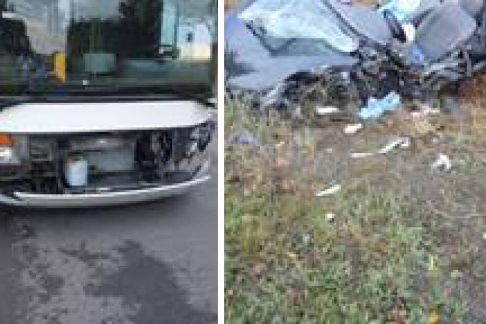 Daniel stieß mit seinem Ford Fiesta gegen diesen Linienbus (l.). Der Kleinwagen wurde zerstört.