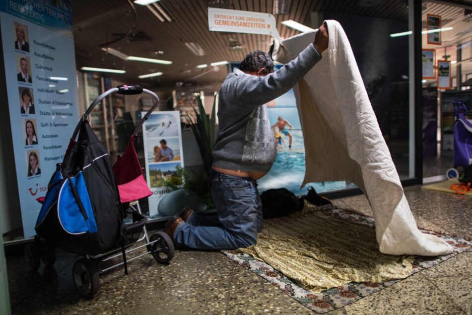 An der Hauptwache können sich Obdachlose für die Nacht niederlassen.