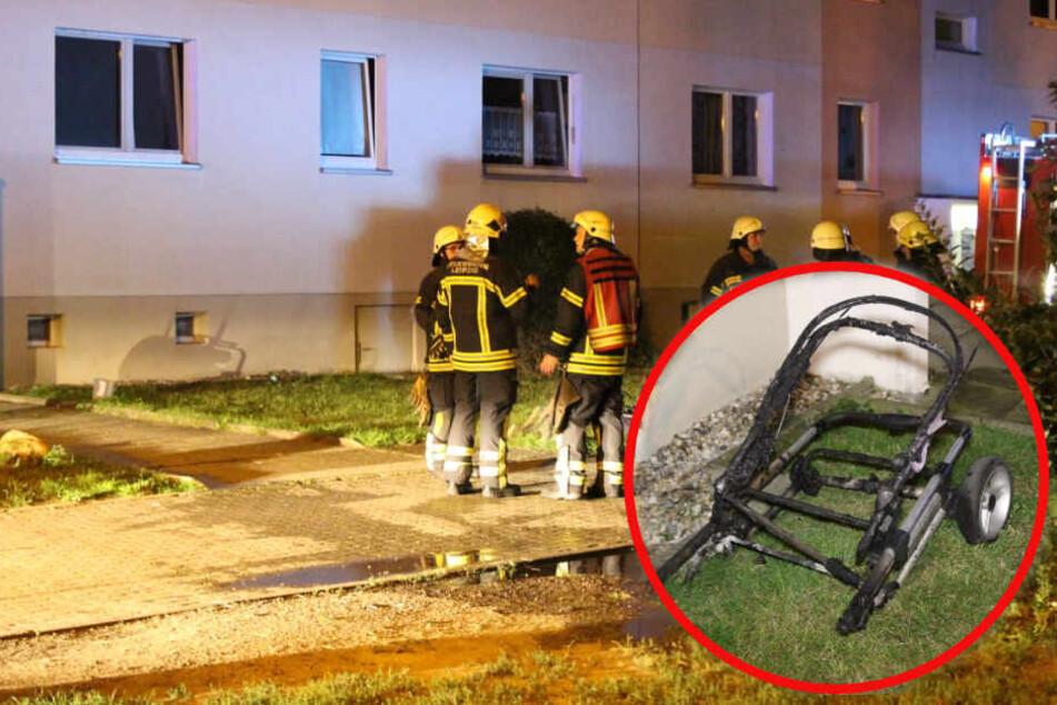 Ein Kinderwagen war im Keller eines Wohnhauses in Brand geraten.