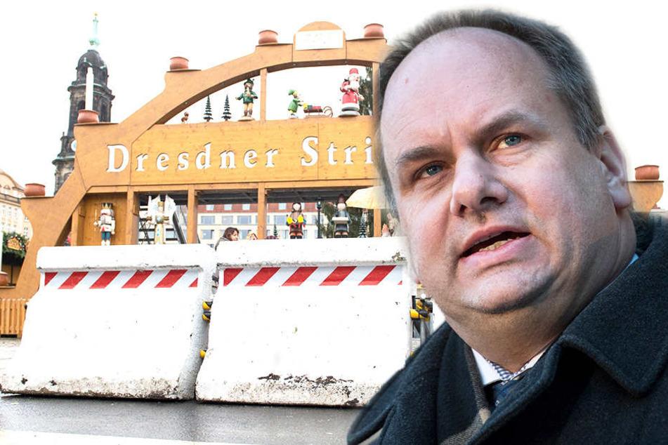 Für OB Dirk Hilbert (47) kommt ein Ausfall des Striezelmarkts nicht in Frage.