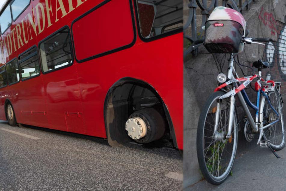 Sightseeing-Bus verliert Reifen und verletzt Fahrradfahrerin