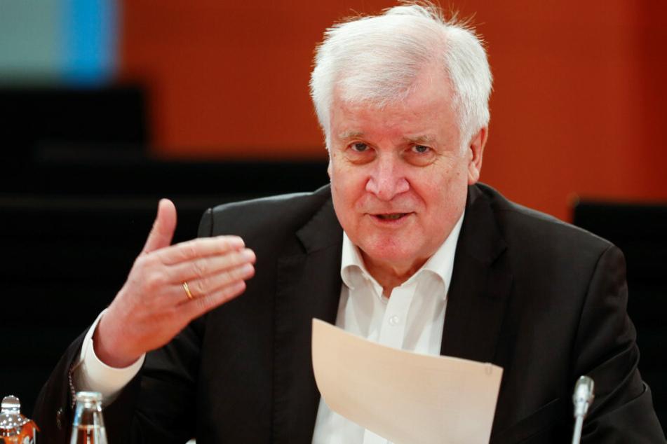 Bundesinnenminister Horst Seehofer (CSU) spricht vor Beginn der Kabinettssitzung.