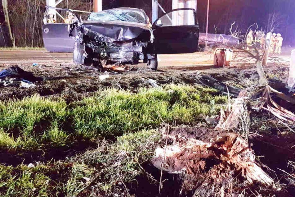 Der Kleinwagen krachte frontal gegen einen Baum. Der nicht angeschnallte Mann wurde schwer verletzt.