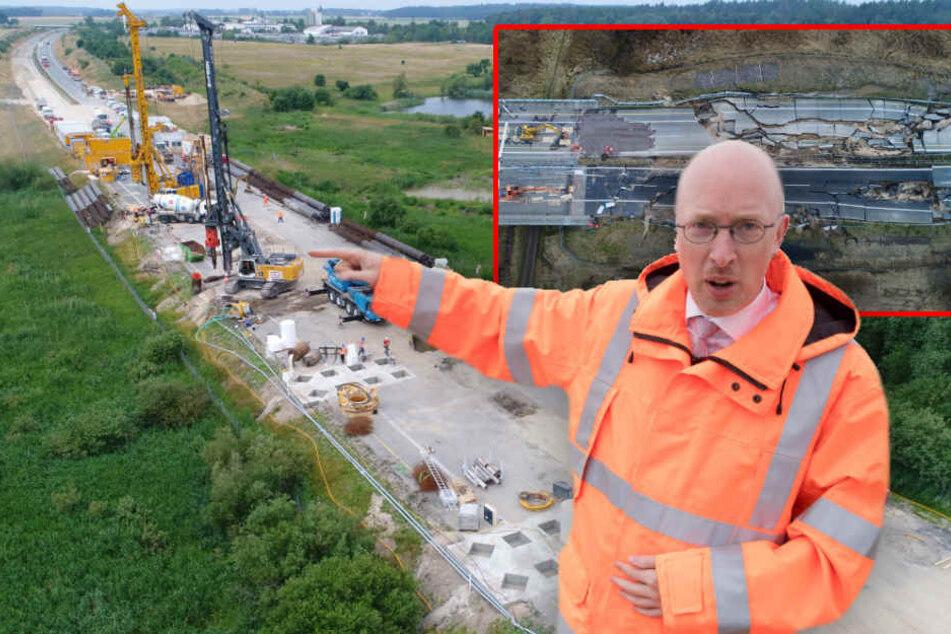 Verkehrsminister Pegel erklärt vor Ort die künftigen Arbeitsschritte für den Bau der Behelfsbrücke. (Bildmontage)