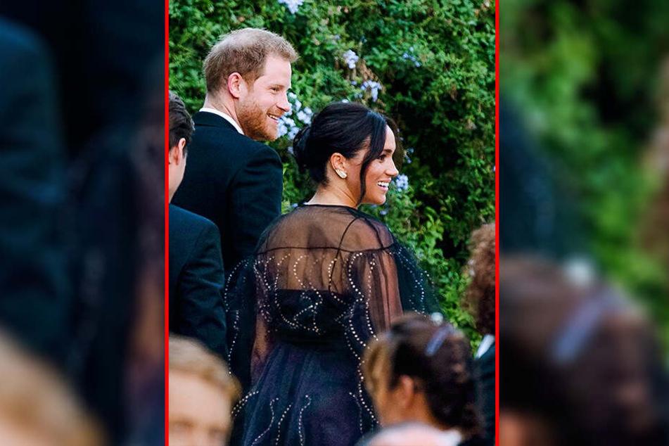 Der britische Prinz Harry, Herzog von Sussex, und seine Frau Meghan, Herzogin von Sussex, kommen zur Hochzeit von Designerin Misha Nonoo und Michael Hess in Rom an.