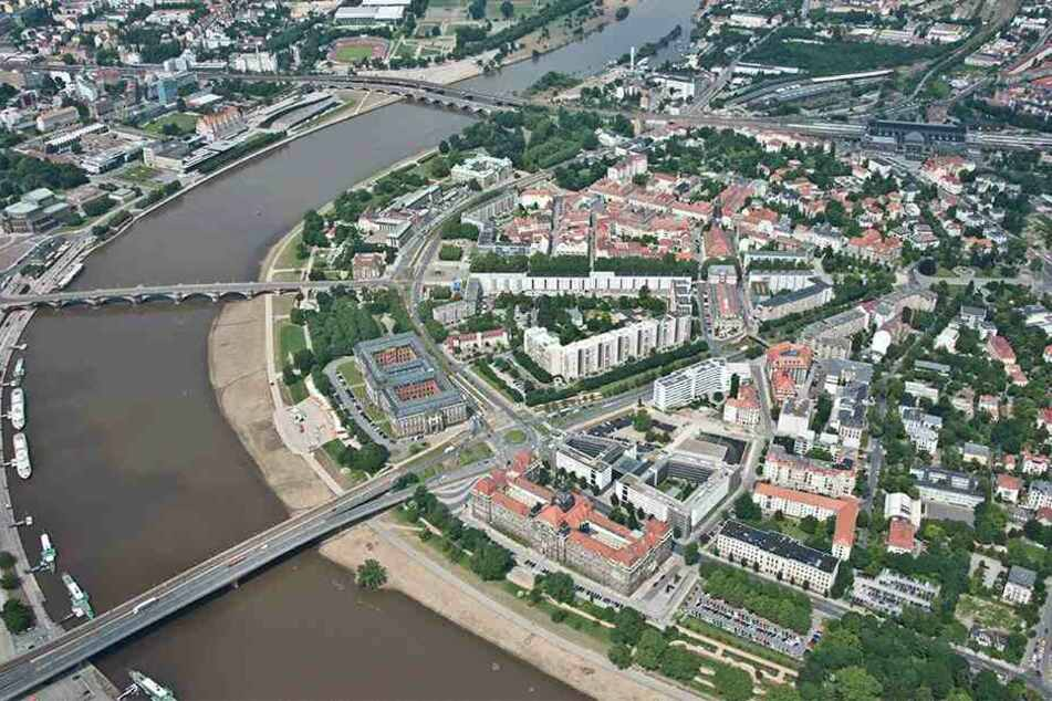 Die neue unterirdische Fernwärmetrasse soll die beide Elbseiten über einen Tunnel nahe Marienbrücke verbinden.