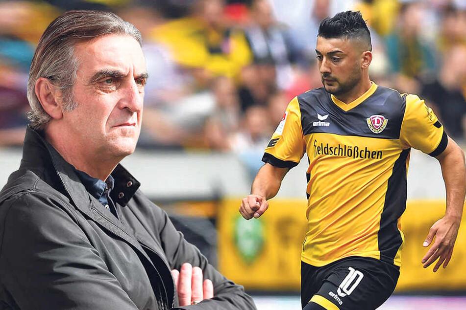 Ralf Minge (li.) muss sich erneut mit einem wechselwilligen Spieler befassen. Aias Aosman hat angeblich ein millionenschweres Angebot aus Katar vorliegen.