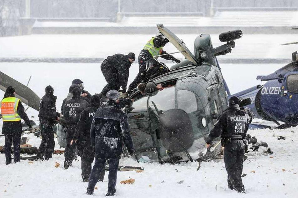 Die beiden abgestürzten Polizeihubschrauber.