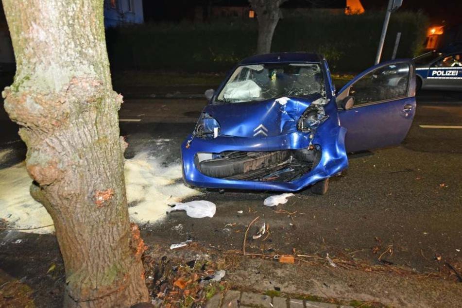 Der Citroën  krachte heftig gegen einen Baum.