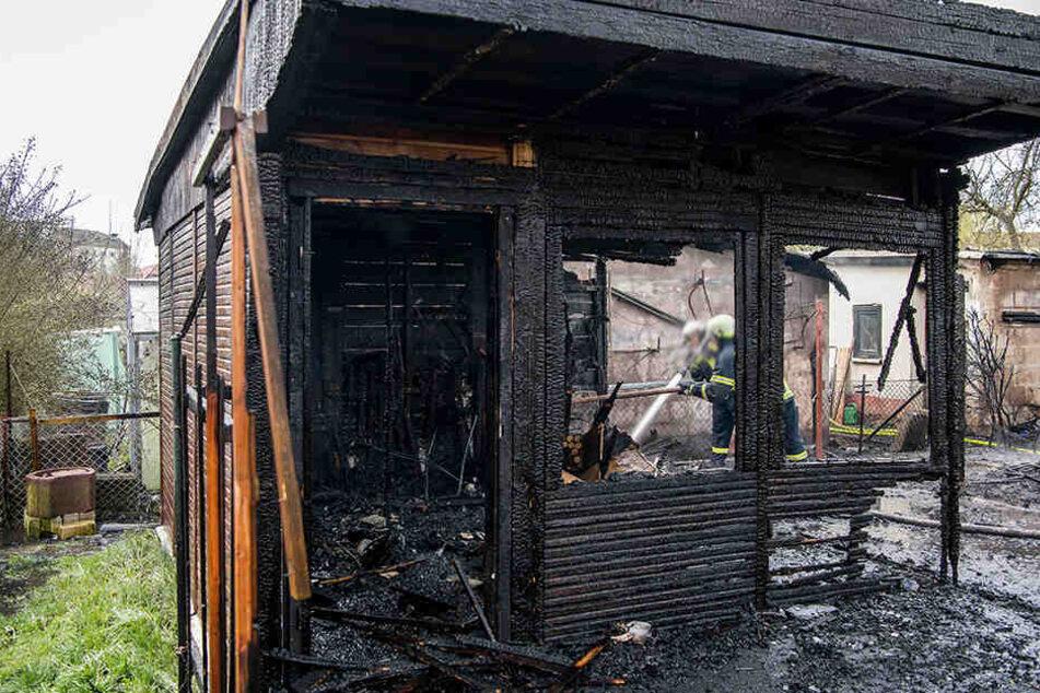 Die Laube wurde bei dem Brand komplett zerstört.