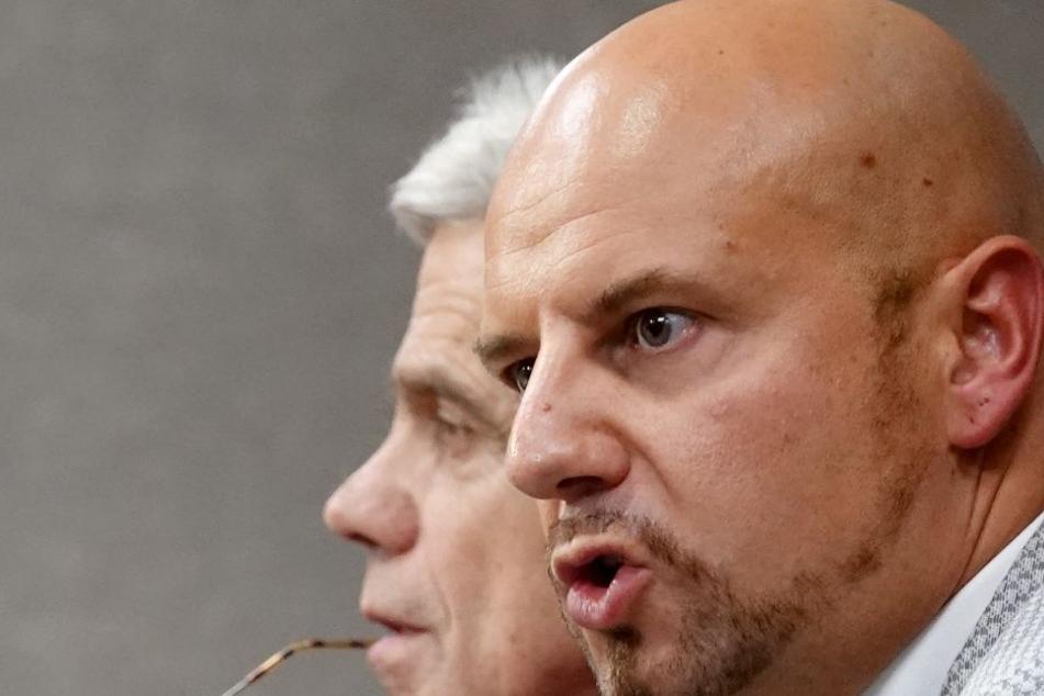 AfD-Abgeordnete gegen den Rest der Welt: Wolfgang Gedeon (l.) und Stefan Räpple (r.).