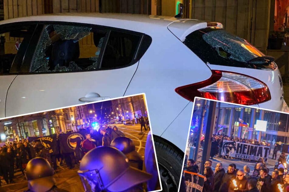 Politischer Hintergrund? Demonstranten greifen Auto an: zwei Verletzte