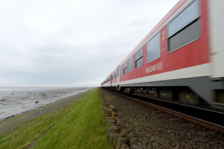 Die Züge nach Sylt fahren über einen Deich.