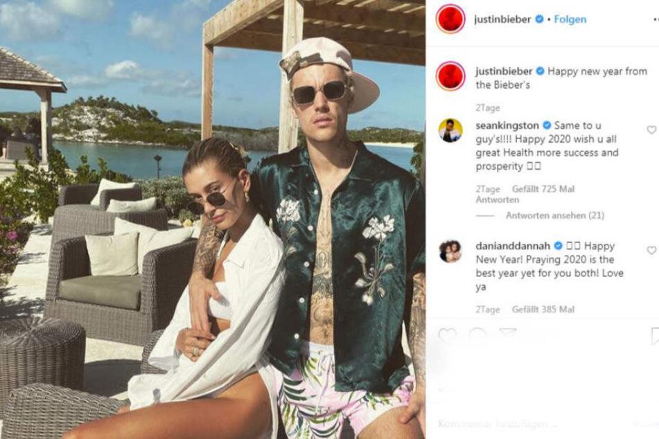 Frohes Neues von den Biebers. Justin und Hailey grüßten via Instagram ihre Fans.