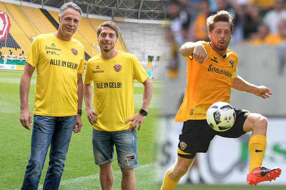 Lumpi am Freitag mit Uwe Neuhaus im Stadion und in Aktion.