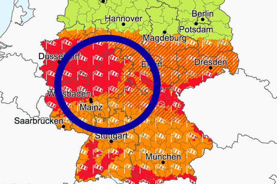 Das Bild zeigt einen Screenshot von der Website des Deutschen Wetterdienstes.