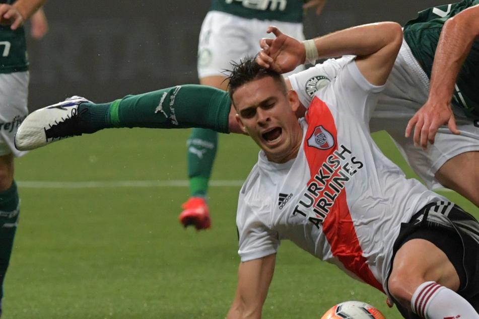 Rafael Santos Borré im Halbfinale der Copa Libertadores im Januar 2012, das River Plate unglücklich gegen Palmeiras Sao Paulo aus Brasilien verlor.