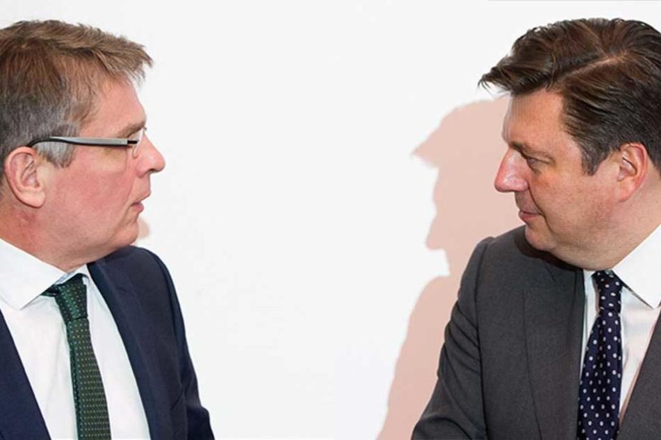 Das Verhältnis von Polizeipräsident Klaus Kandt (li.) und Innensenator Andreas Geisel gilt derzeit als belastet.