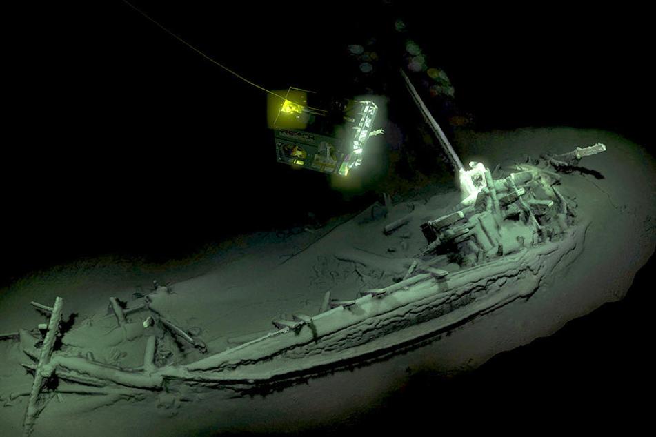 Ein 3D-Bild zeigt das Wrack am Grunde des Schwarzen Meeres.