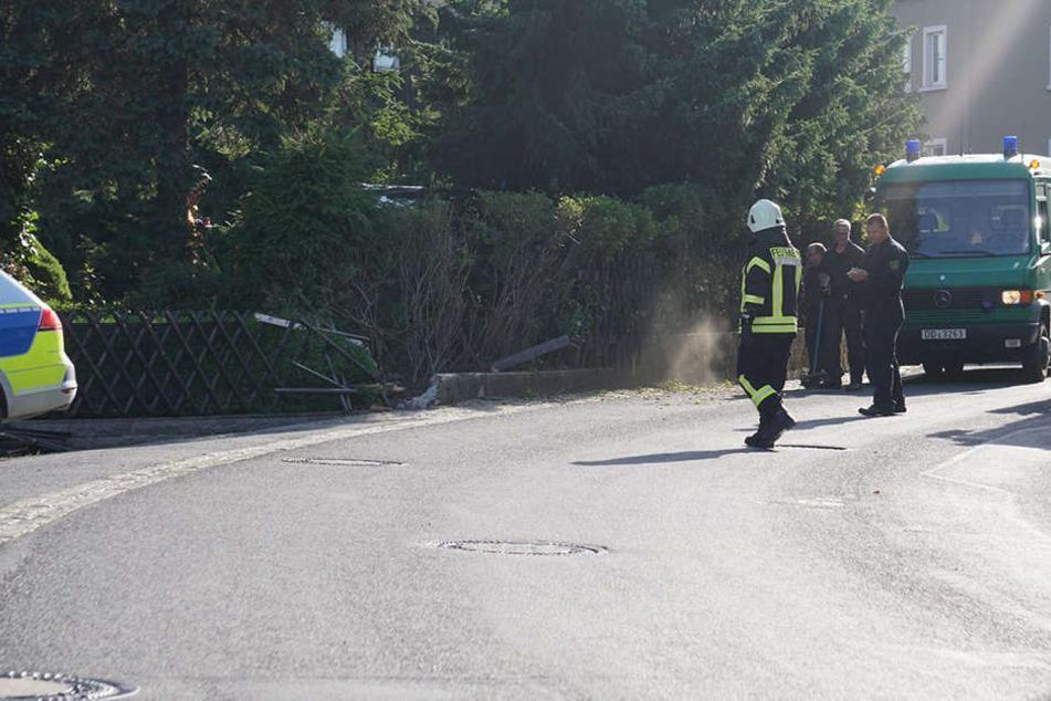 Das Fahrzeug kam von der Straße ab und landete an einem Zaun.
