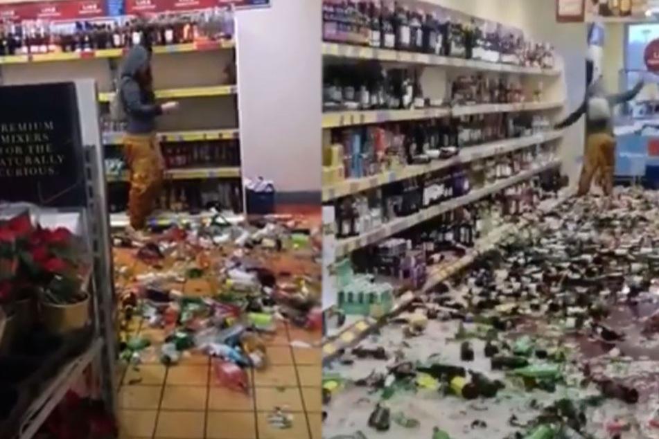 Riesen Chaos: Frau zerschmeißt bei Aldi Hunderte Flaschen