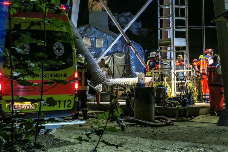 Der verletzte Bergmann wurde aus 50 Metern Tiefe gerettet.