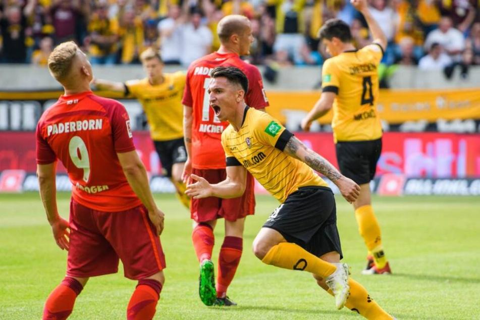 Baris Atik von Dynamo Dresden machte es dem SCP mit einem Dreierpack schwer.