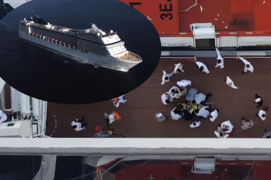 Familienvater stürzt von Kreuzfahrtschiff, Strömung treibt ihn ab