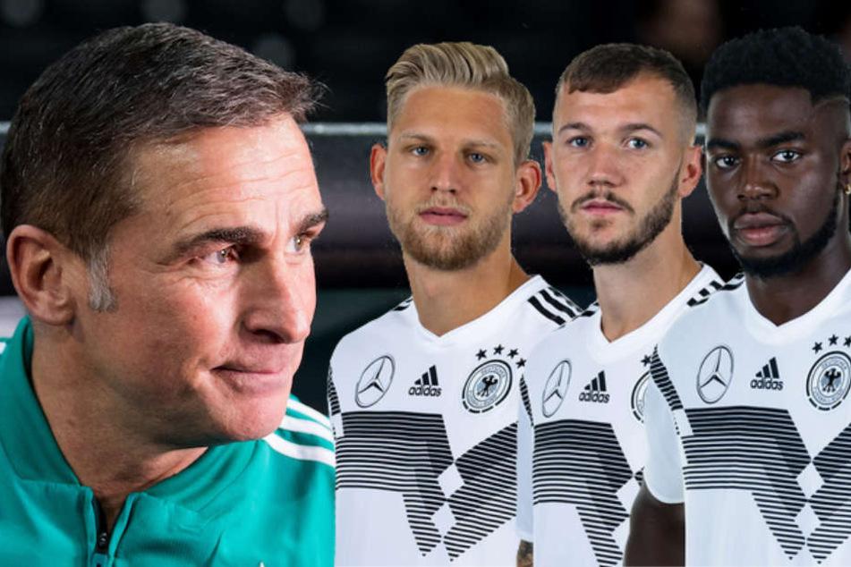 U21-Trainer Stefan Kuntz (55) ist sehr zufrieden mit seinen Berlinern Arne Maier (19), Marcel Hartel (22) und Jordan Torunarigha (21)
