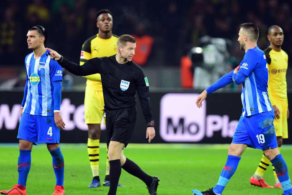 Schiedsrichter Tobias Welz zeigte Vedad Ibisevic die Rote Karte und verwies ihn vom Feld.